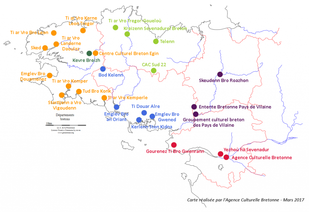 Cartes des ententes de pays en Bretagne
