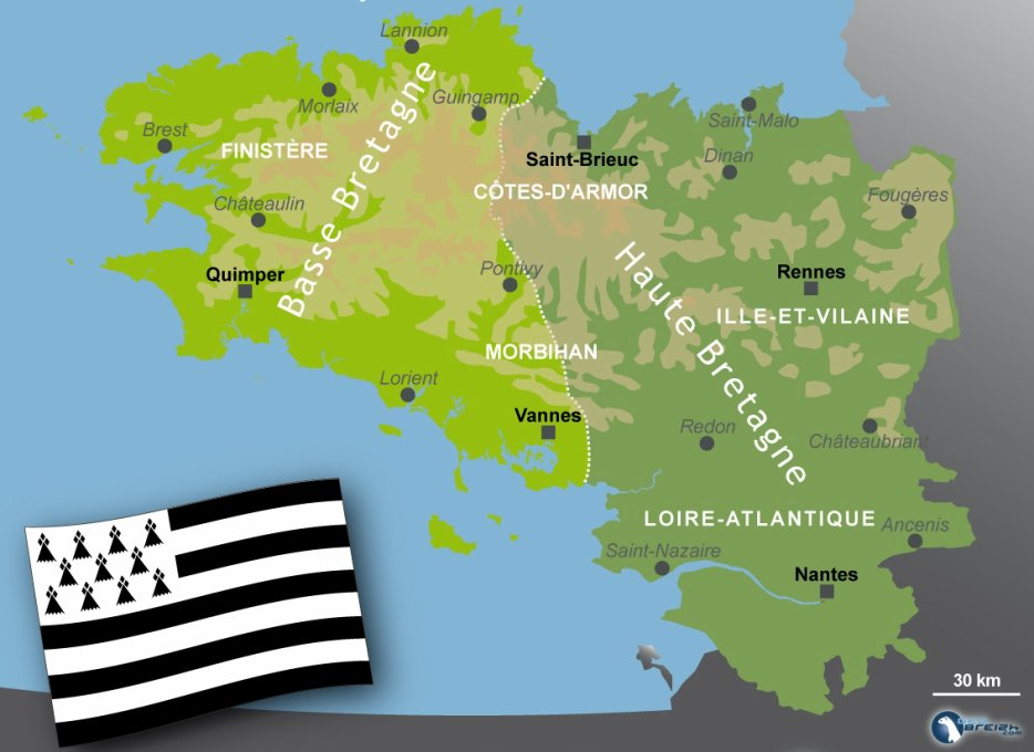 Carte représentant les différents pays de Bretagne